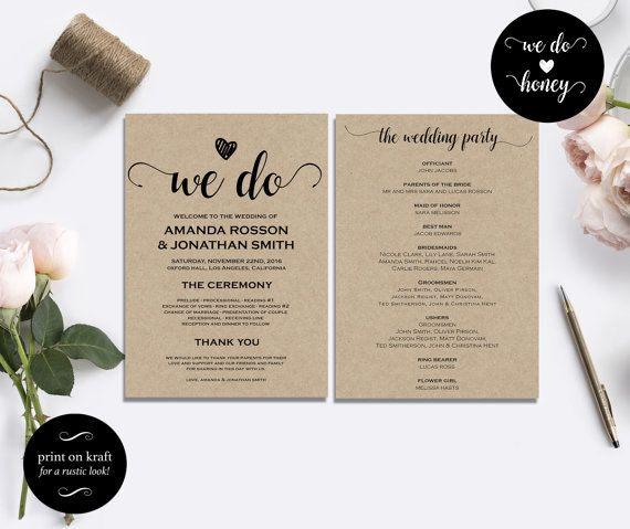 Wedding Program Template Rustic Diy Printable By Wedohoney Wedo Weddingprograms