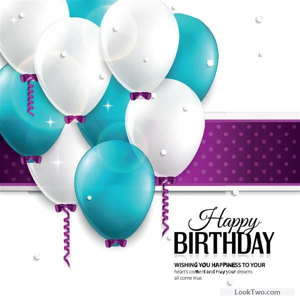 Free Balloons and confetti happy birthday card vector 01 vector - birthday greetings download free