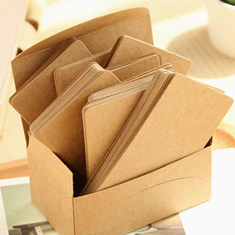 (100 sheet/Pack) Creatieve Afgeronde Koeienhuid Karton 121G Papier Dik Karton Visitekaartje Size Bericht Woord kaarten