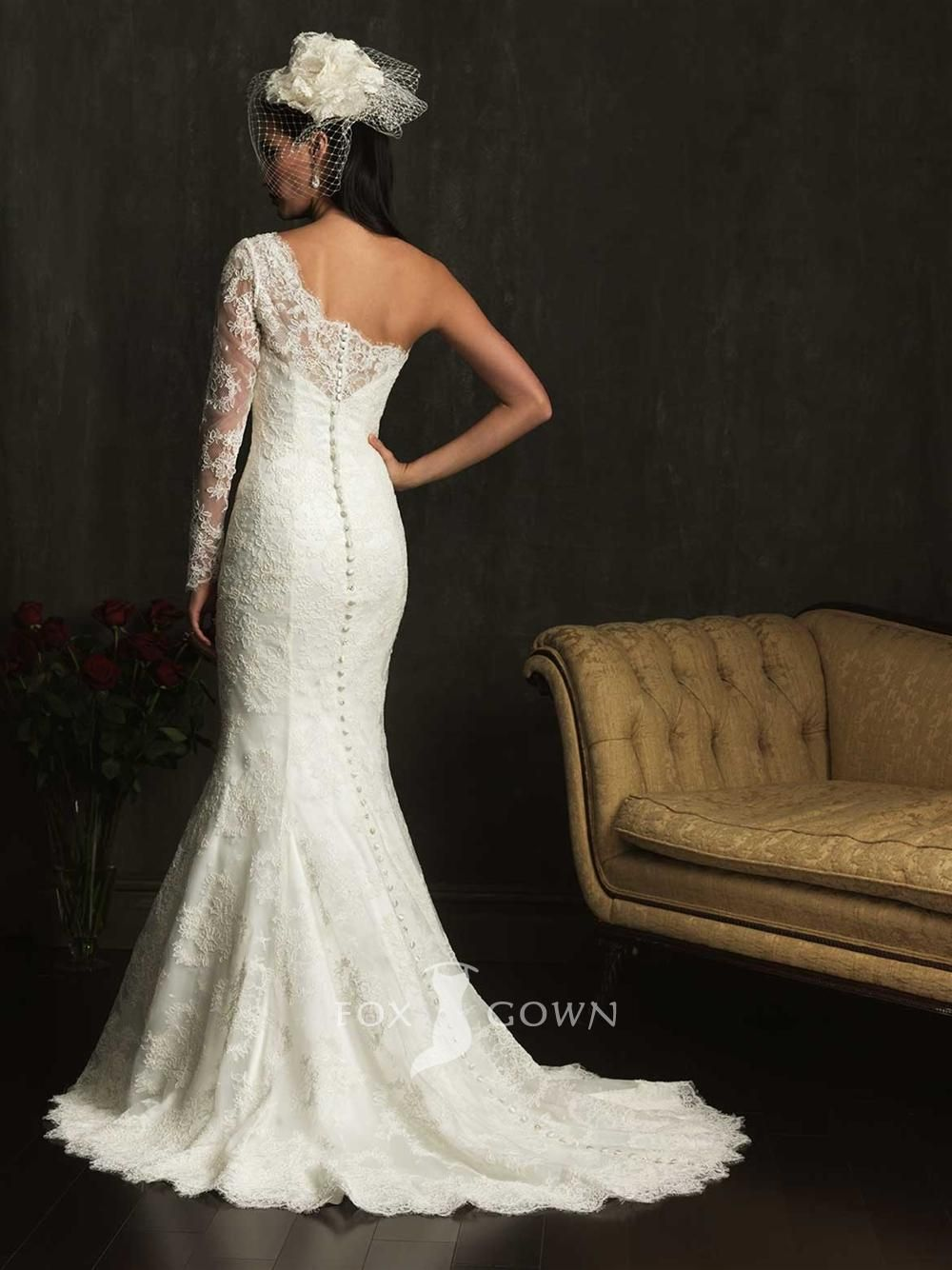 All Over Lace Applique Sheath One Shoulder Long Allure BridalsBridal StyleLace