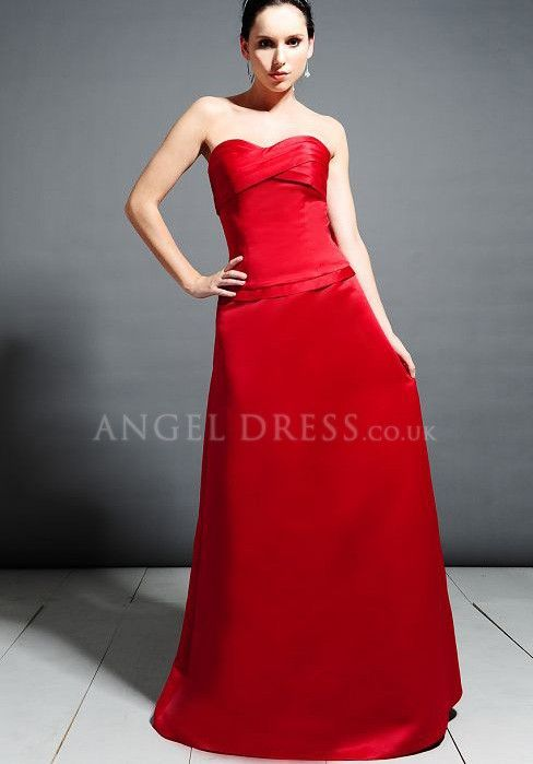 Satin Sweetheart A line Natural Waist Floor Length Sleeveless Bridesmaid Dress