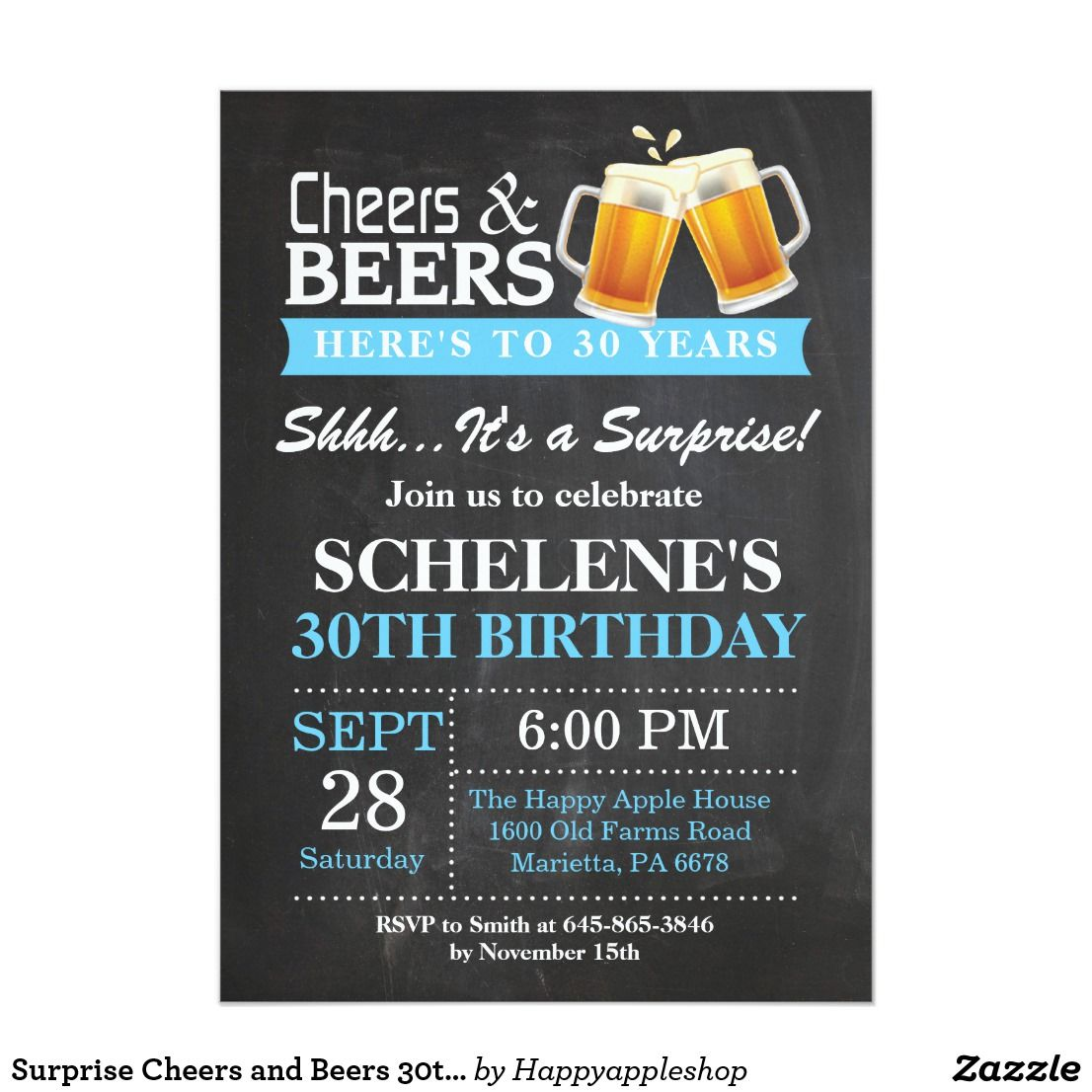 Surprise Cheers And Beers 30th Birthday Invitation Party Parties Invitations Ideas Custom Celebrations Invites