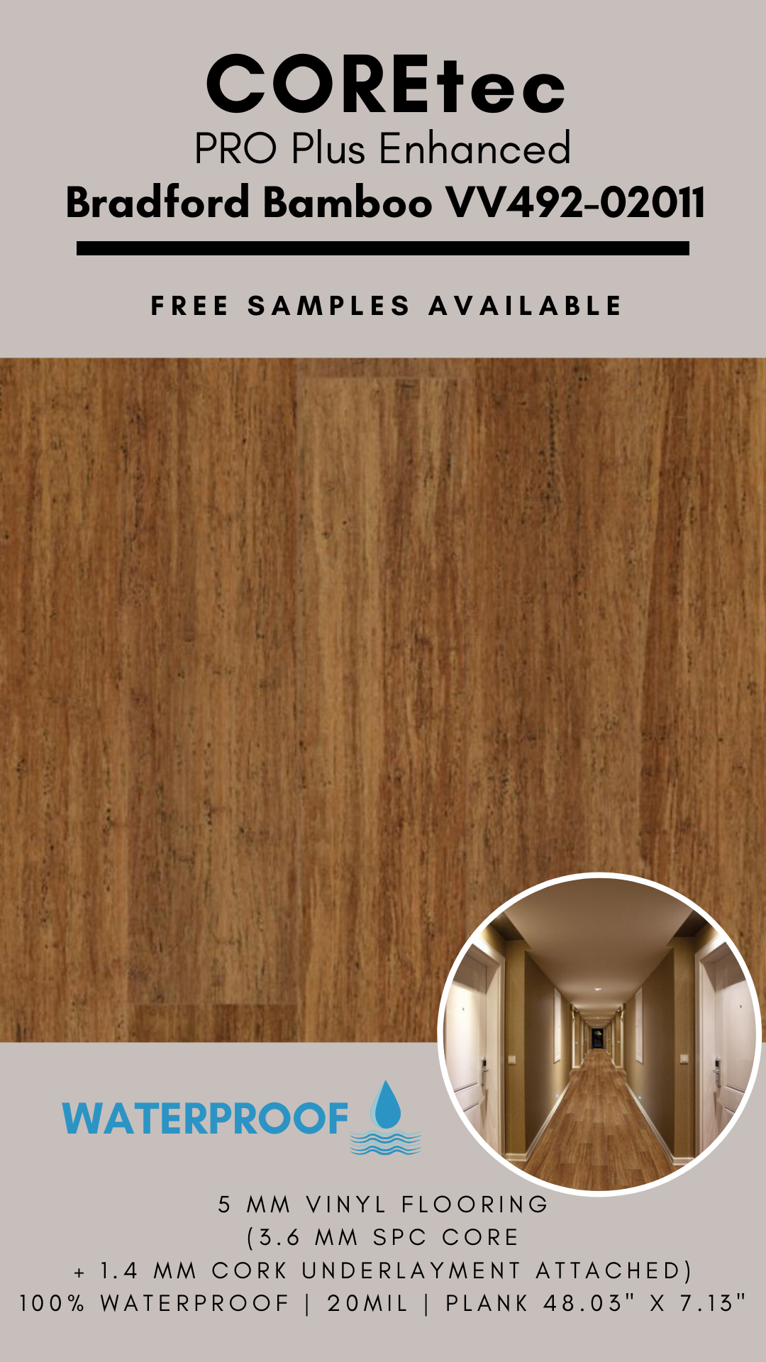 Coretec Pro Plus Enhanced Bradford Bamboo Vinyl Flooring In 2020 Vinyl Flooring Flooring Bamboo