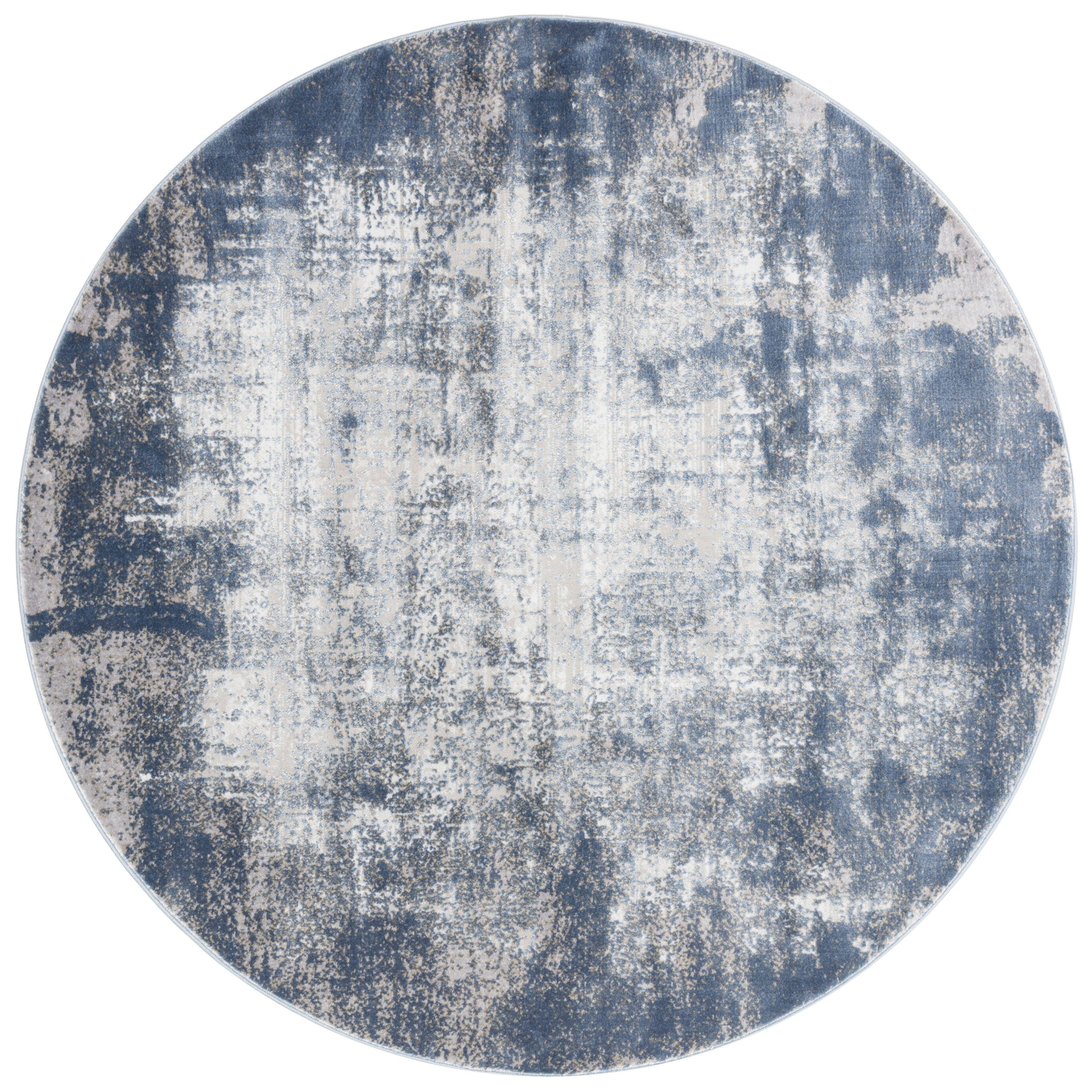 Grey Textured Vintage Round Rug