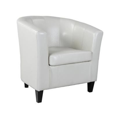 Cream White Bonded Leather Tub Chair