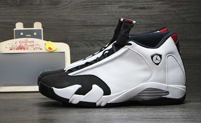 027a4eaafbcf 487471-102 Air Jordan 14 Retro Black Toe White Black Varsity Red Metallic  Silver Colorway