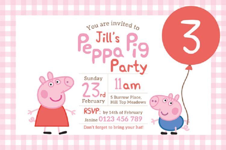 Free Customized Peppa Pig Birthday Invitations Invitation Cards Ideas