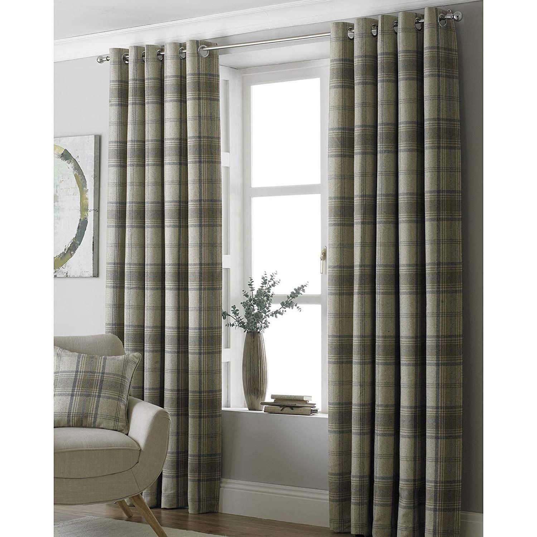 Paoletti Aviemore 90x72 Natural Tartan Tweed Eyelet Curtains Amazon Co Uk Kitchen Home Curtains Tartan Curtains Drapes Curtains