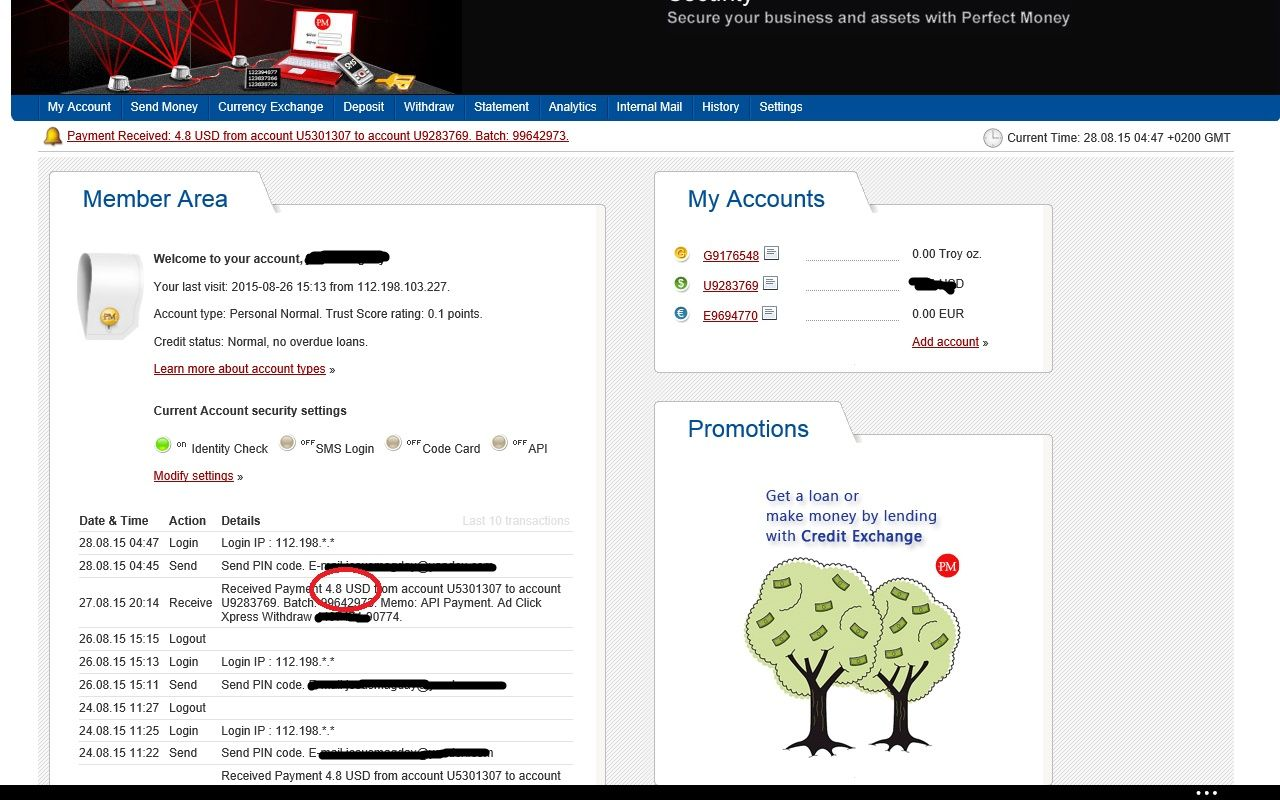 """AdClickXpress proof withdrawal 07.08.15 0751 """"I WORK FROM"""