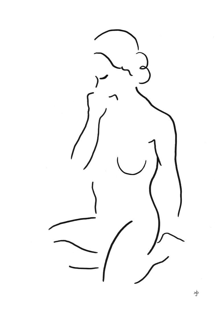 Buy 1705, a Ink on Paper by David Jones from United Kingdom. It portrays:  Nude, relevant to: Matisse , art nouveau, female, line, nude Simple calm  pose.