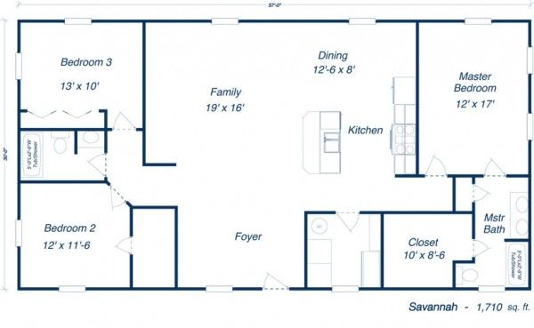 40X50 House Floor Plans 40X60 Barndominium Floor Plans 40x40
