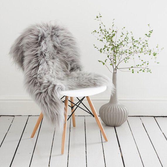 Grey Gray Sheepskin Throw Rug Icelandic Longhair Rarebreed