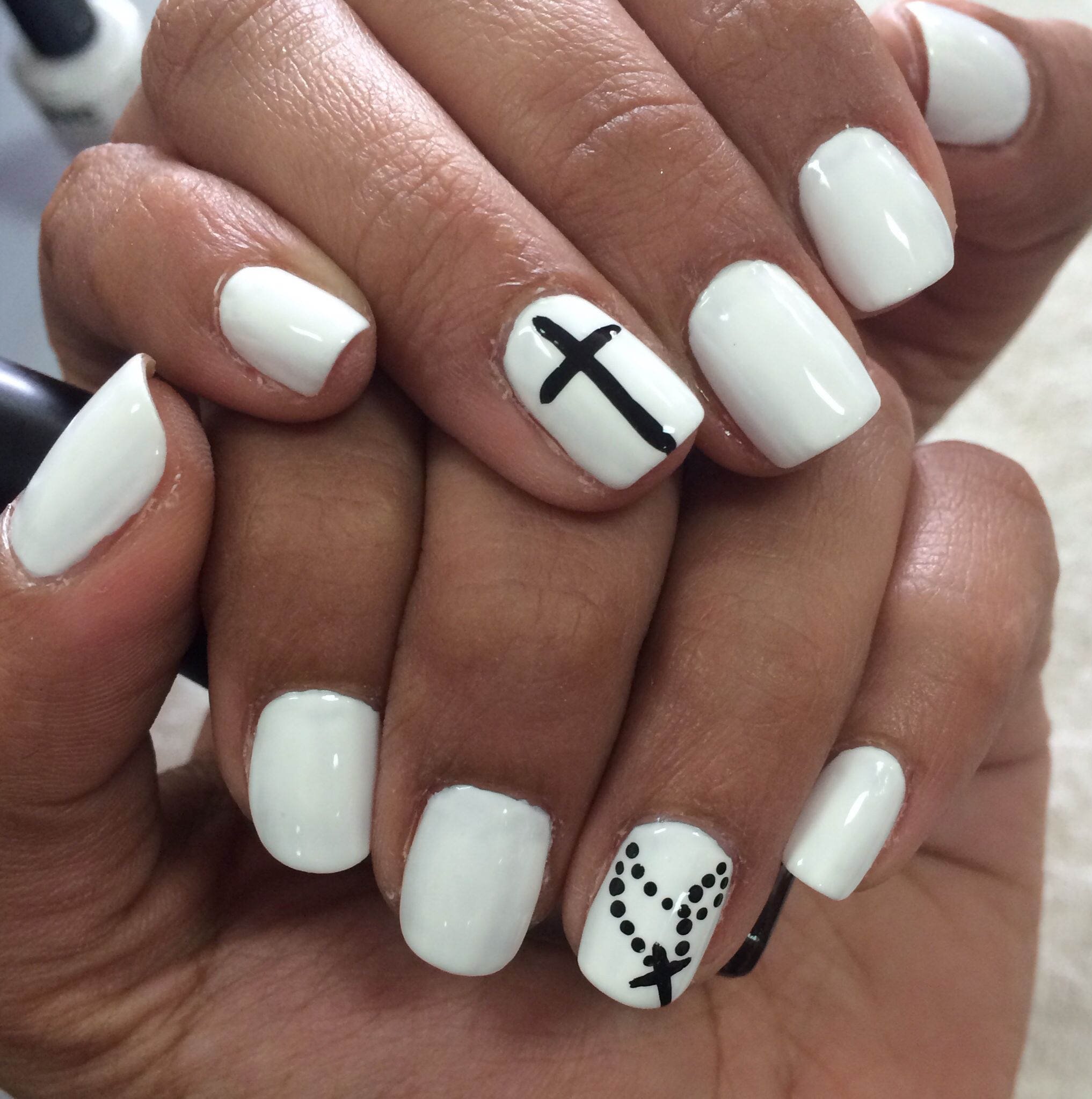 White mani with black cross Nail art | Nails & Feet | Pinterest ...