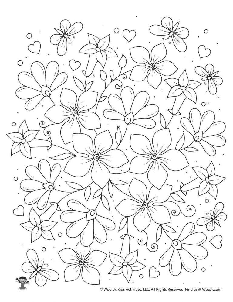 Gallery Flowers Adult Coloring Page to Print   Woo Jr. Kids Activities is free HD wallpaper.