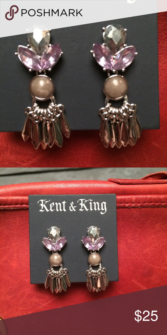 KENT & KING Glamorous lavender and cream earrings Matches a necklace in a separate listing. These pastels are stunning in an old school glamour style, but I may personally use my own set for a pastel goth burlesque getup. Kent & King Jewelry Earrings