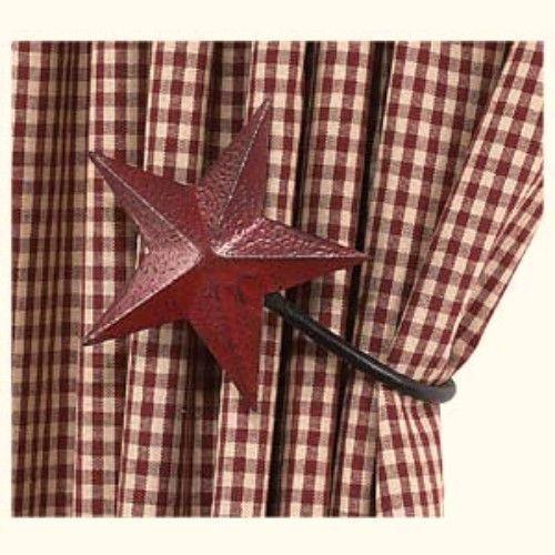 Set Of 2 Burgundy Barn Star Curtain Tie Backs Hooks Primitive Country Farmhouse