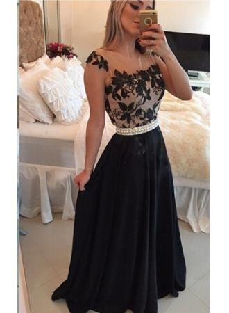 USD$159.00 - Elegant Square Chiffon Black Prom Dress 2016 Appliques Pearls - www.27dress.com