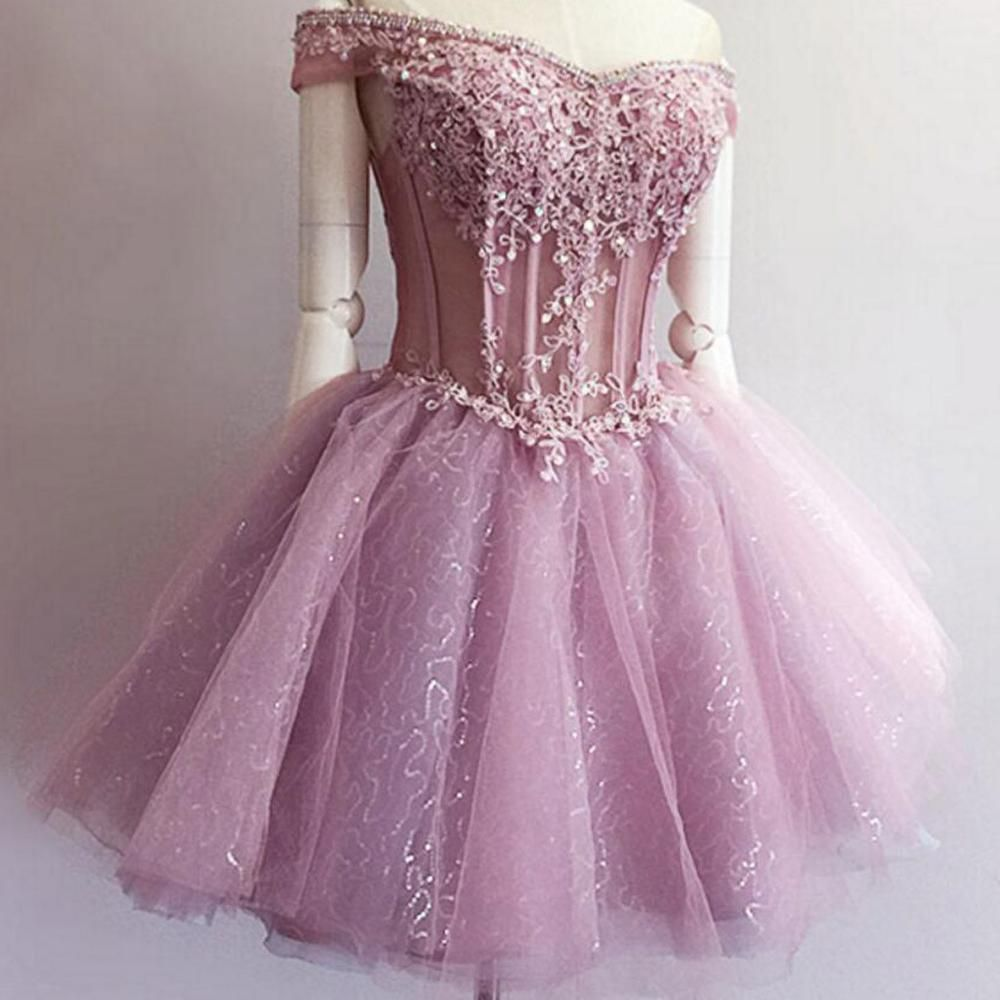 See through pink lace beaded cute homecoming prom dresses
