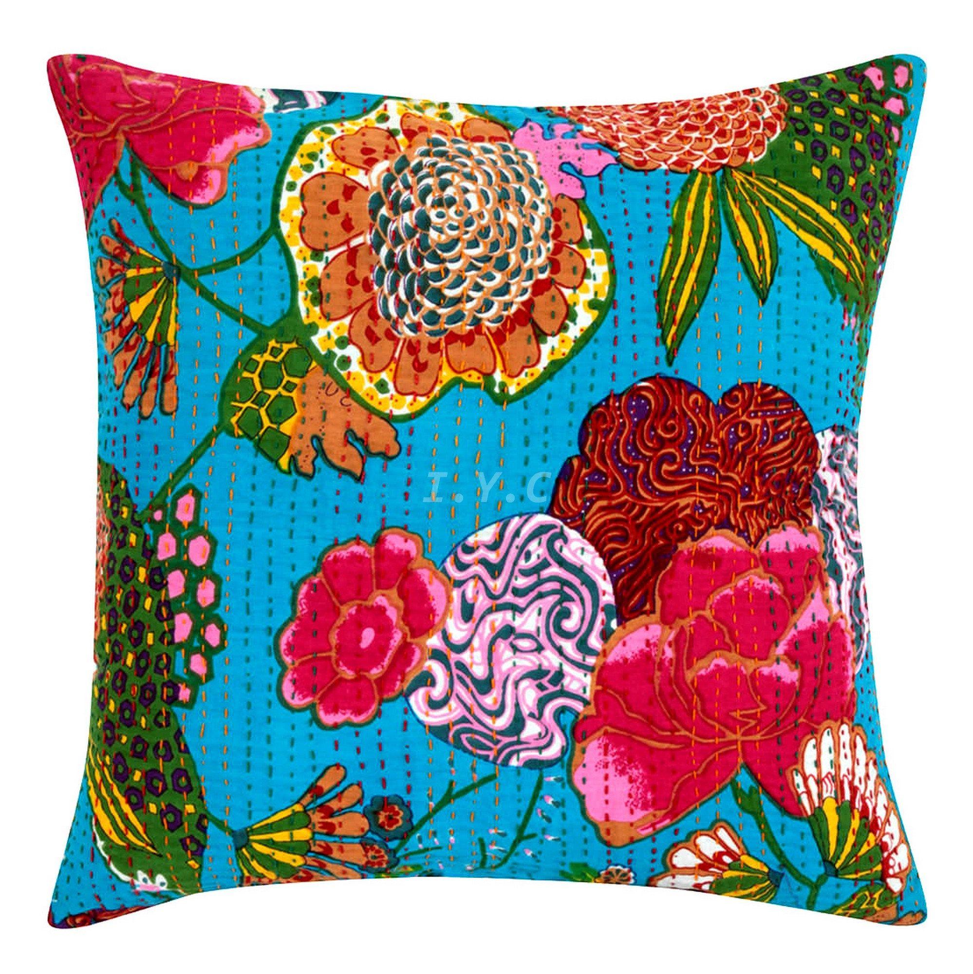 Indian kantha work pillow cover,Decorative Pillow,Throw Indian Pillow Cover ,Sofa Pillow ,Couch Pillow, 16x16 inch Pillow # ilu0003