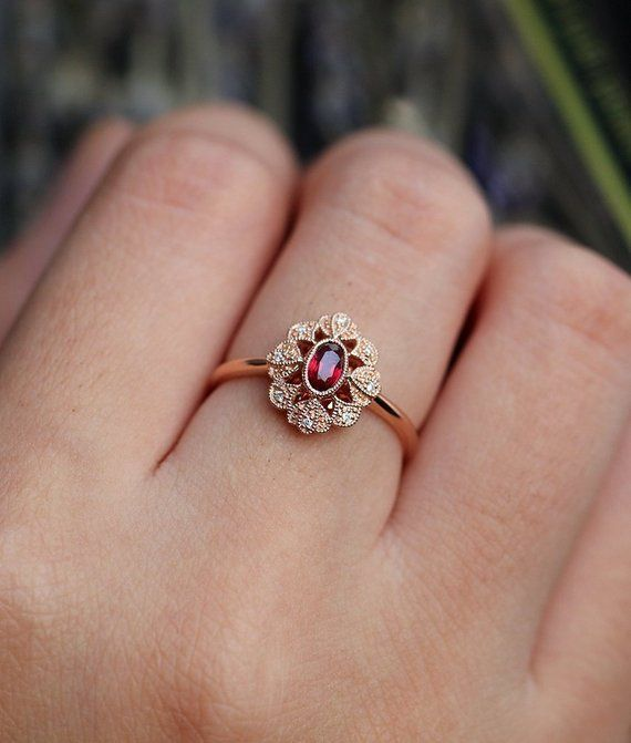 Ruby engagement ring 14k rose gold vintage oval cut Gypsy set flower Cluster  antique Halo diamond w