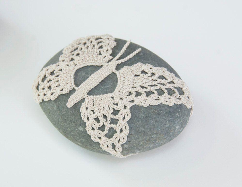 Crochet lace beach stone, cream butterfly