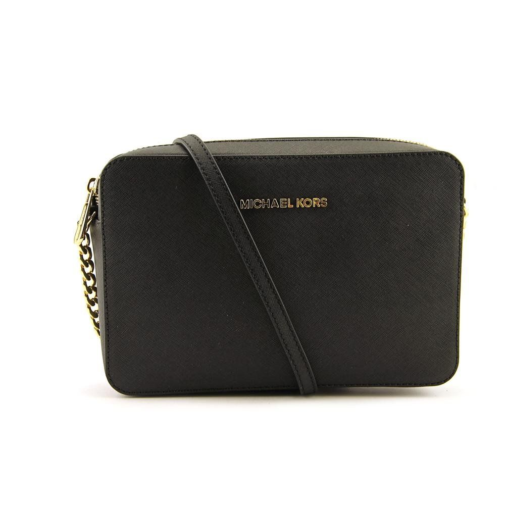 adc0d32c19d5 Michael Kors Jet Set Travel Large Ew Crossbody Black Leather  Handbags   Amazon.com