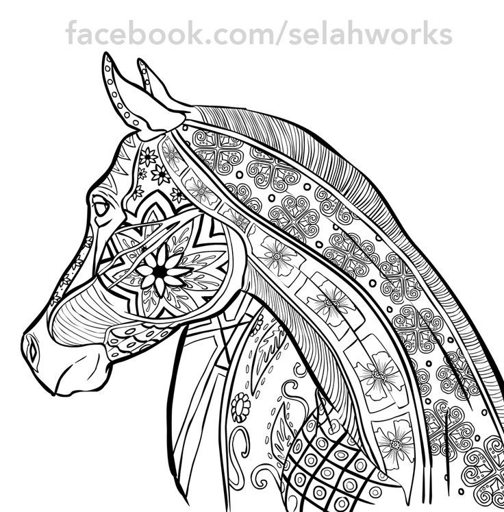 adult hard coloring pages of horse doodle art