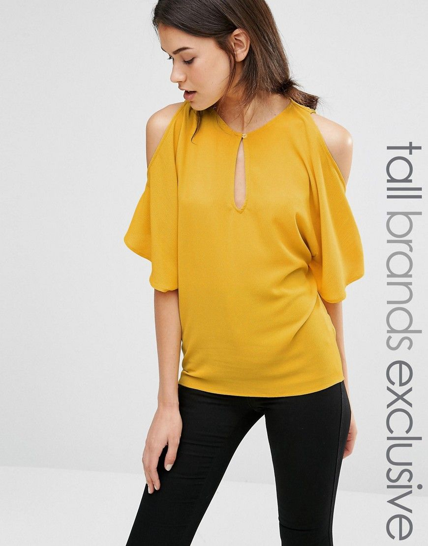 f13130b6c0020 Image 1 of Alter Tall Cold Shoulder Floaty Blouse