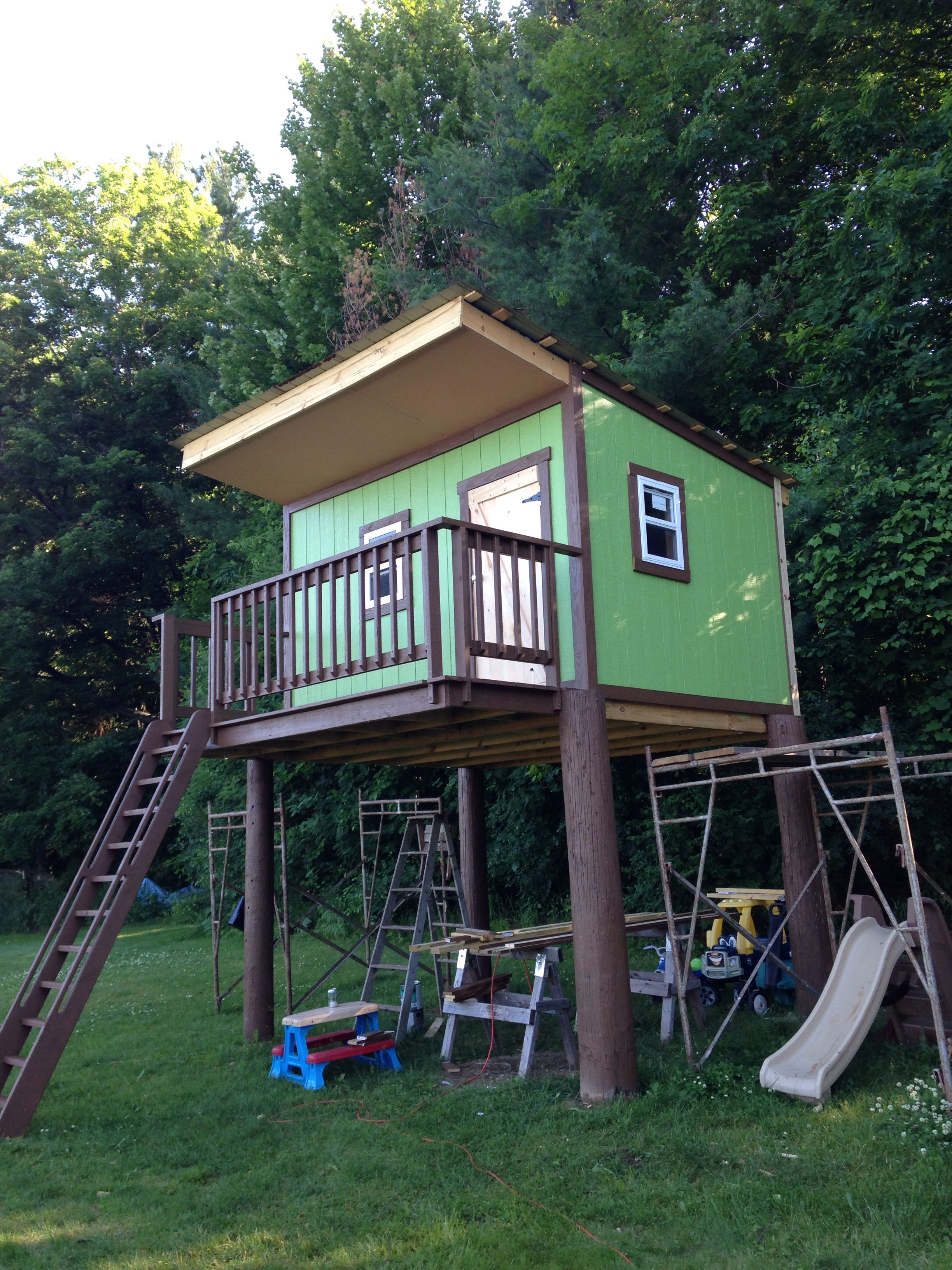 Tree House For My Son Built Standing 8 From Ground To