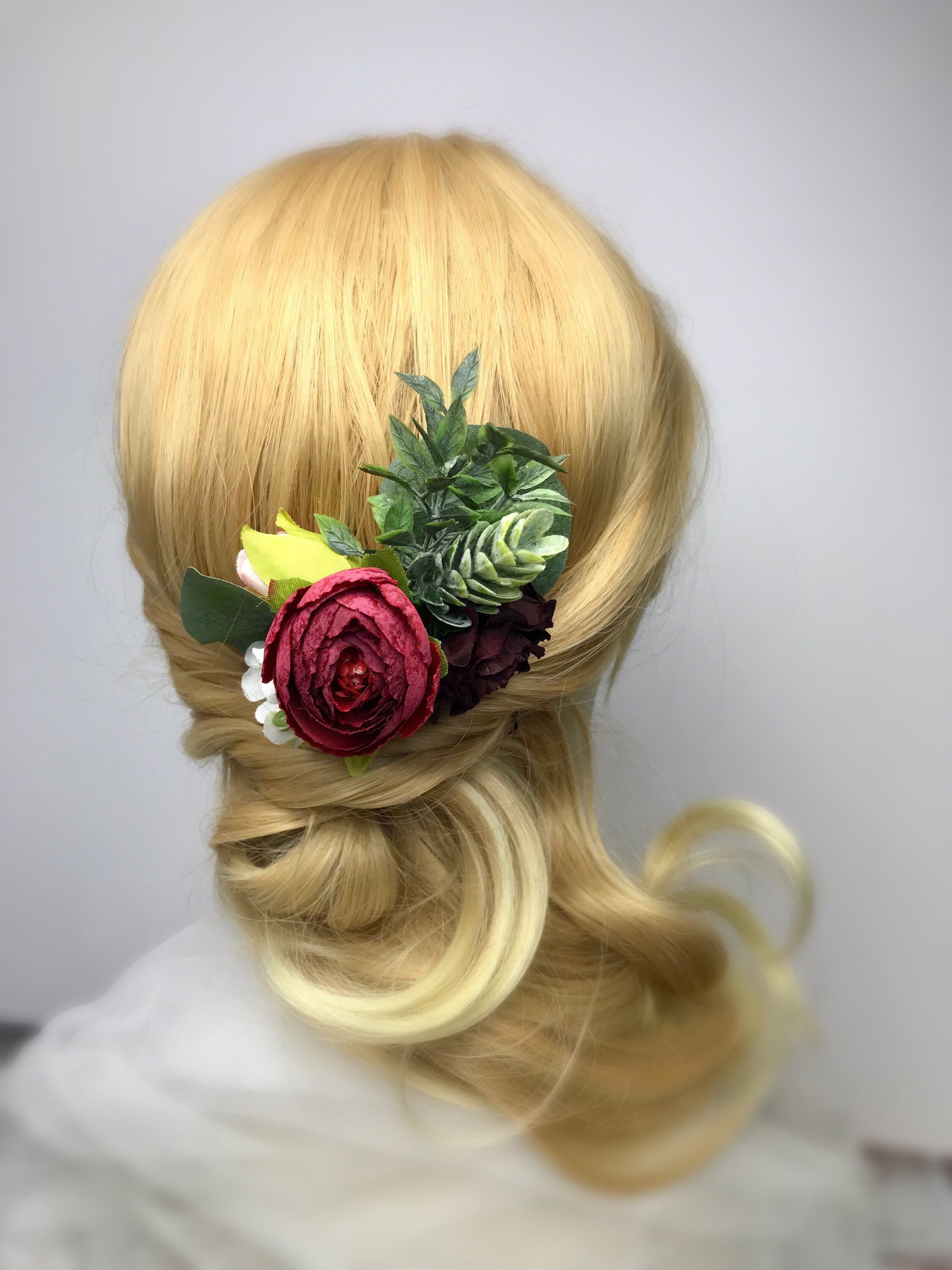 9e7d04ce13cb Excited to share the latest addition to my  etsy shop  Flower Burgundy Hair  Comb For Wedding