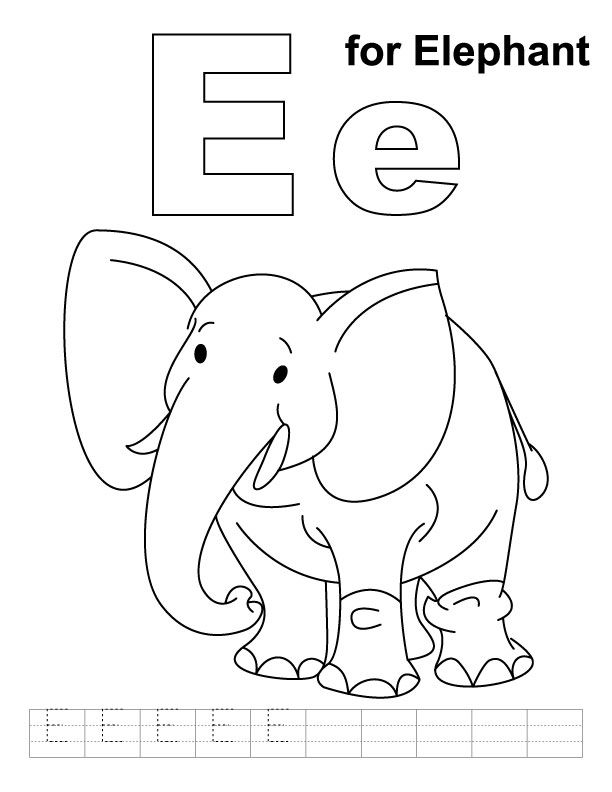 E for elephant coloring page with handwriting practice  Download