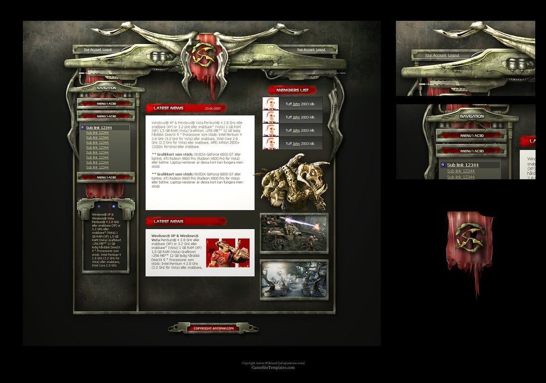 Alien Sci-Fi Game Web Template by ~karsten on deviantART | Interface Design with Style 1 ...