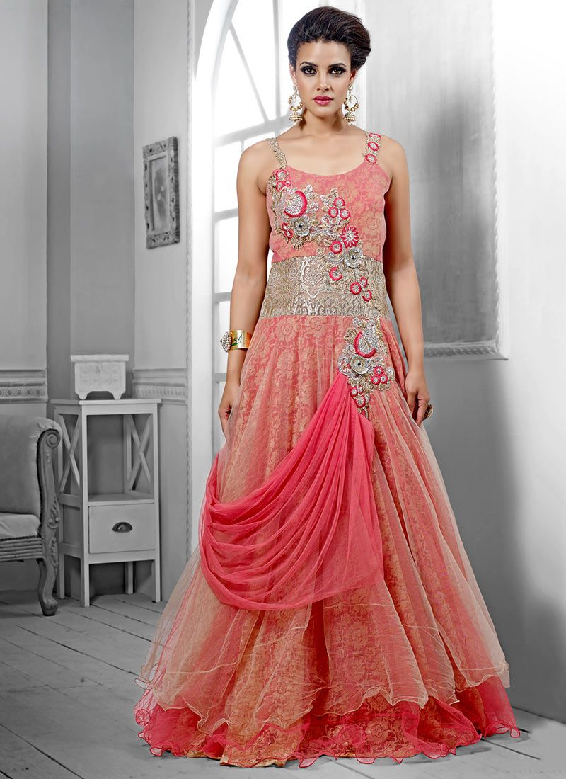 Deserving Pink Net Wedding Gown, Product Code :7861, shop now http ...