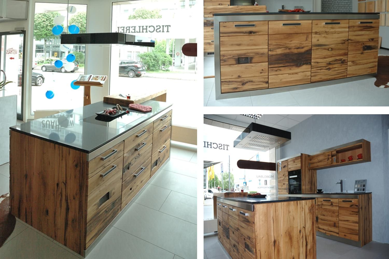 kubische k che im industriedesign aus altholz naturstein und edelstahl k che altholz. Black Bedroom Furniture Sets. Home Design Ideas