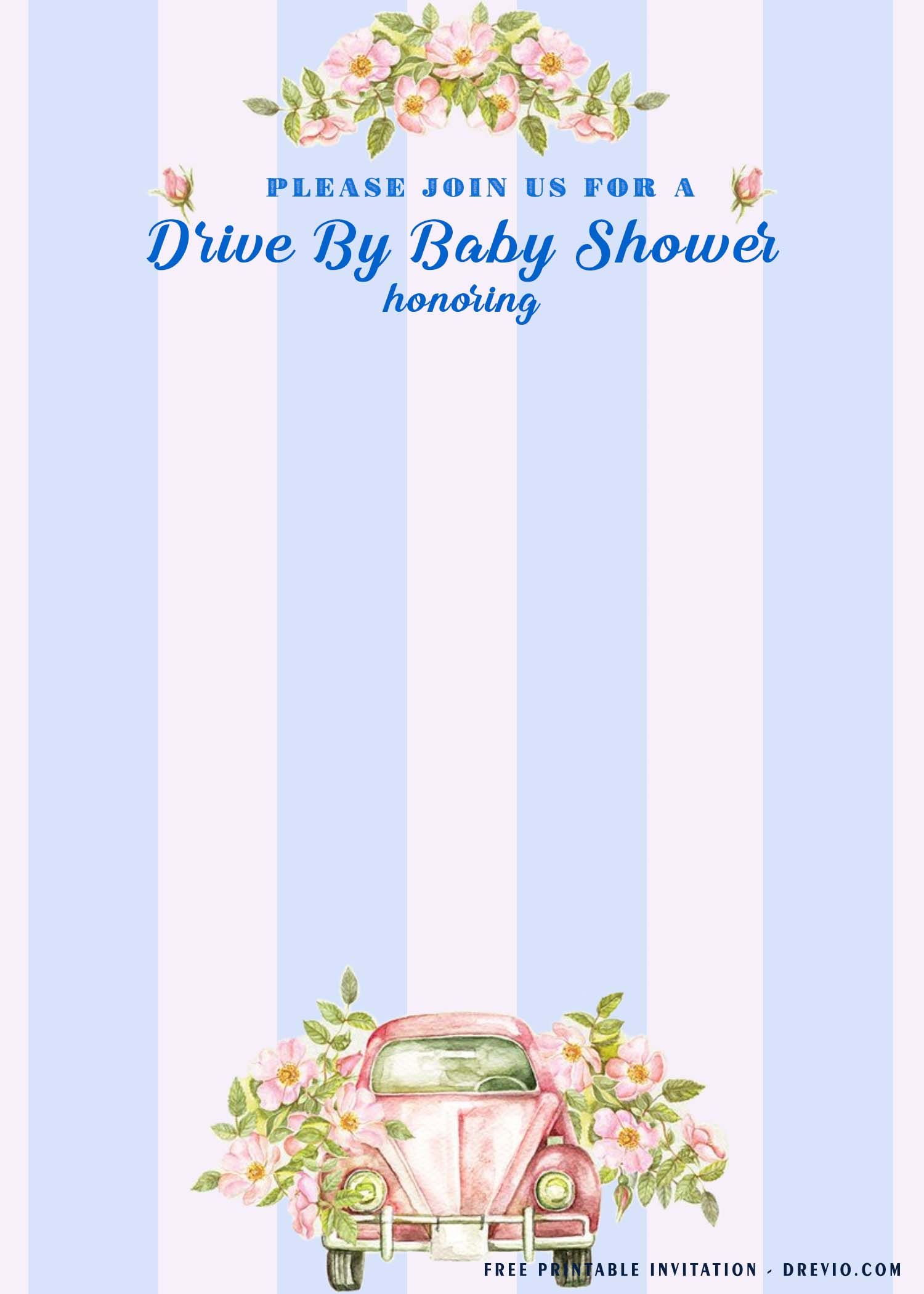 Free Printable Retro Drive By Baby Shower Invitation Free Baby Shower Invitations Shower Invitations Free Printable Baby Shower Invitations