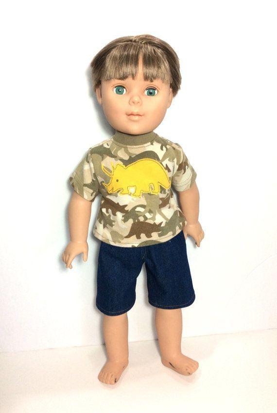18 Inch Boy Doll Dinosaur T-shirt with Jean Shorts by DonnaDesigned #boydollsincamo 18 Inch Boy Doll Dinosaur T-shirt with Jean Shorts by DonnaDesigned #boydollsincamo
