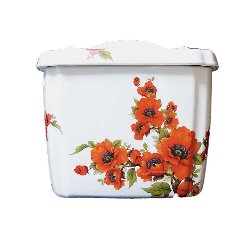 Oriental Poppies Toilet Tank | Decorated Bathroom | Hand Painted Bathroom Fixtures & Accessories