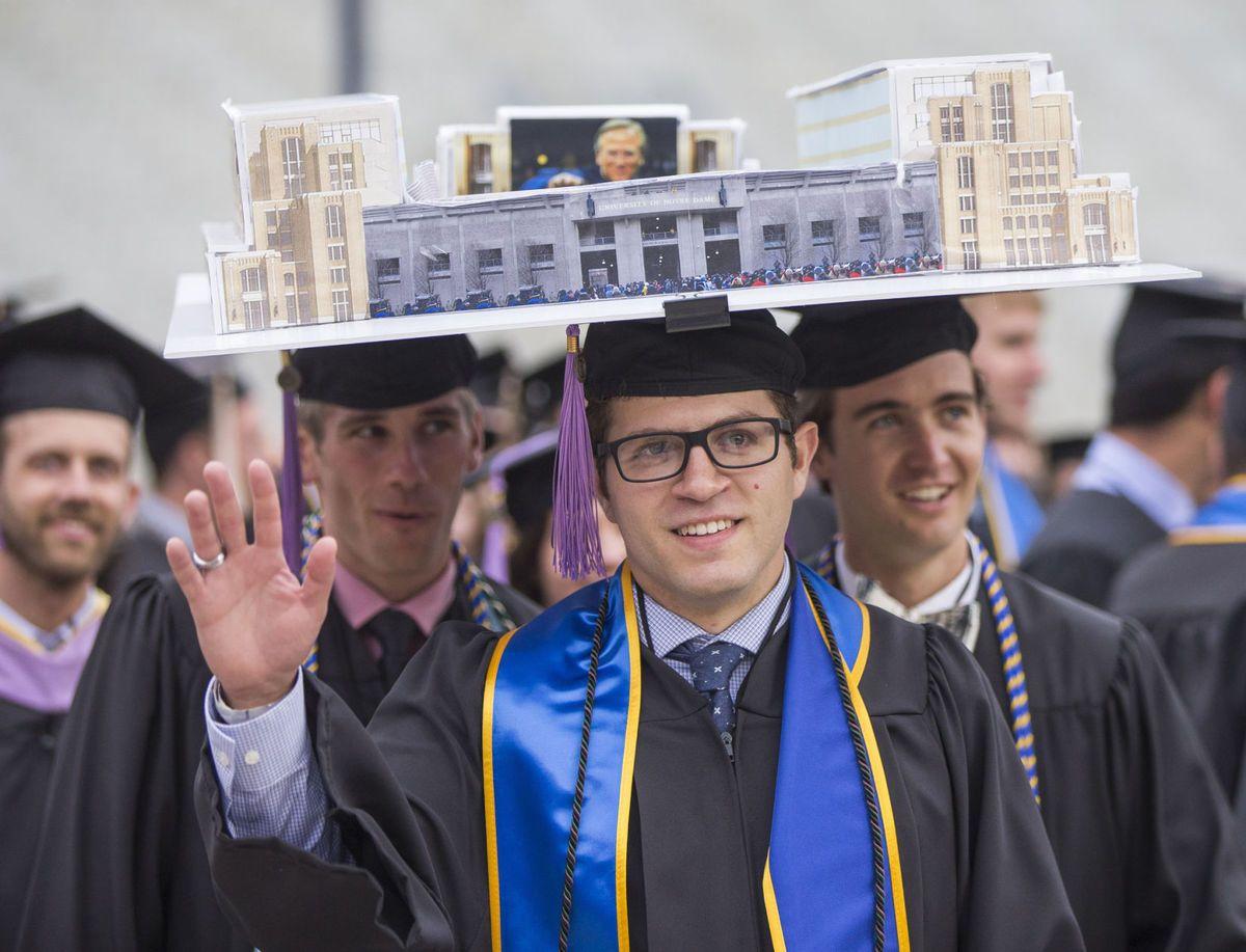 "Notre Dame architecture grads wear a replica of ""Campus"