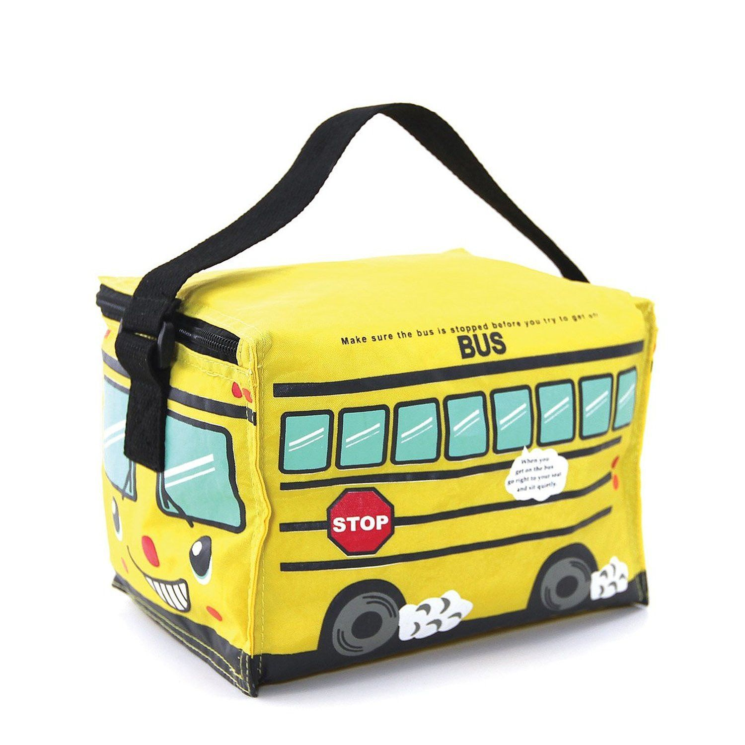 Bright Yellow School Bus Insulated Lunch Bag Canvas