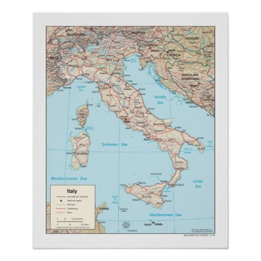 Italy Map Poster Zazzle Com In 2020 Italy Map Europe Map Map Poster