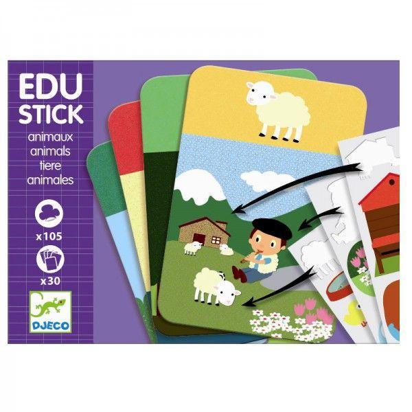 Djeco Edu Stick tolles Lernspiel mit Aufklebern rund um Wortschatz und Beobachtungssinn - Bonuspunkte sammeln, auf Rechung bestellen, DHL Blitzlieferung