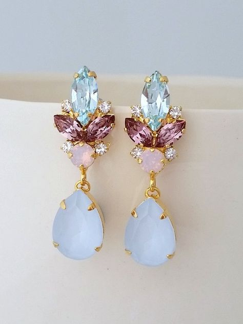 Blue Pink Earrings Bridal Opal Chandelier Wedding