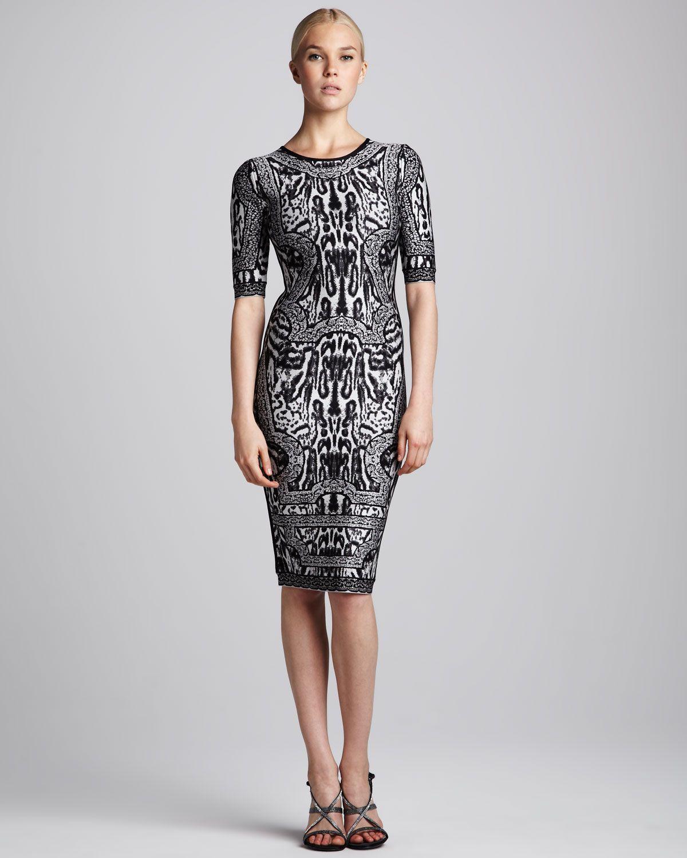 Herve leger combo printed halfsleeve dress art fashion