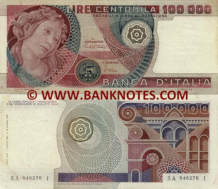 Italy Currency 100000 Lire 1978 1982 Italian Bank Notes Paper Money
