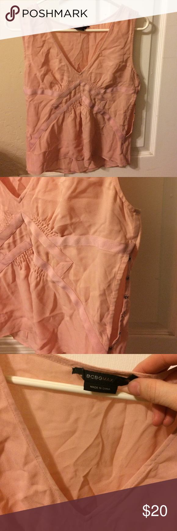 BCBG blouse 100% silk blouse, buttons up the side. V neck. Pale pink. Needs a good pressing :) just wrinkled from storage BCBGMaxAzria Tops