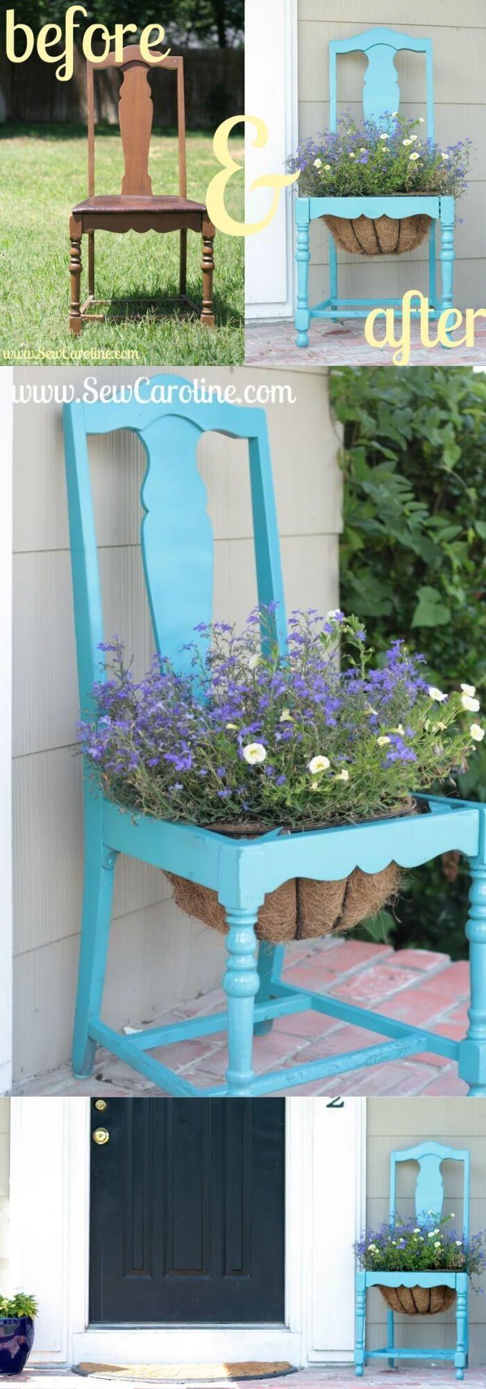 28+ Creative Upcycled DIY Chair Planter Ideas For Your Garden #gartenrecycling