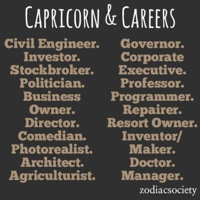 Capricorn & Careers     ~D~ | What's Your Sign? (Caps are