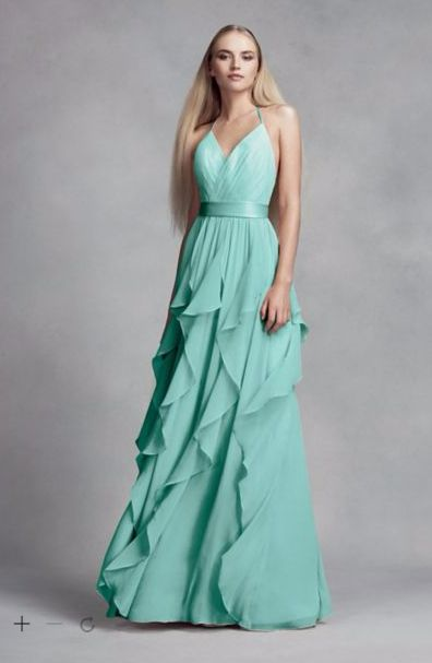 b7f9122fd08b David s Bridal (Vera Wang) in color Spa. LOVE the texture..... should BM  dresses match style  Or contrast