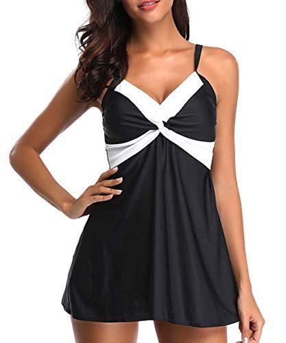 be3f96db504 Zando Women Two Piece Stripe Swimwear Vintage Skirted Swimdress Beachwear Push  Up Swimsuits for Women Boyshort