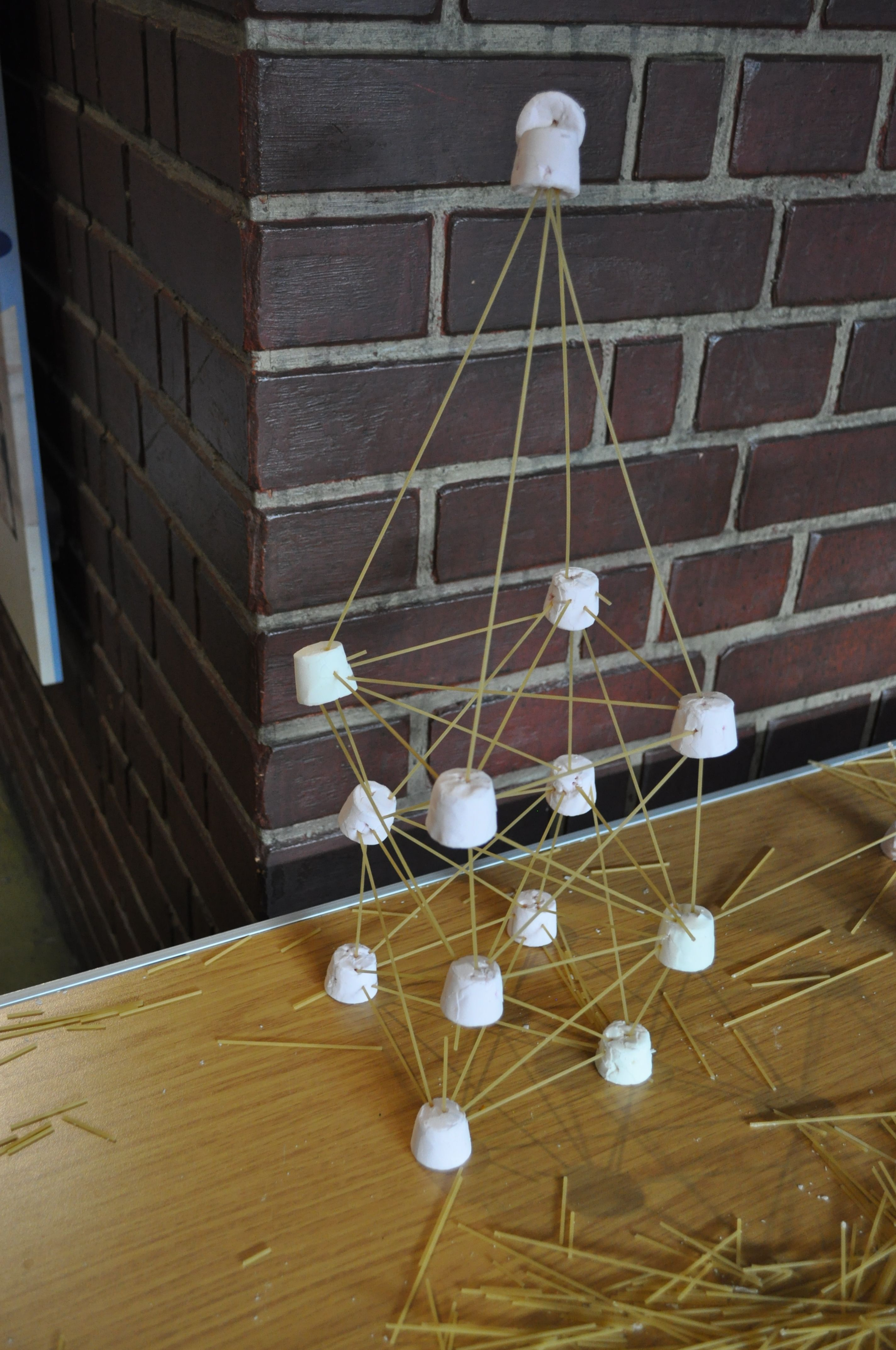 the spaghetti tower made with pasta sticks and